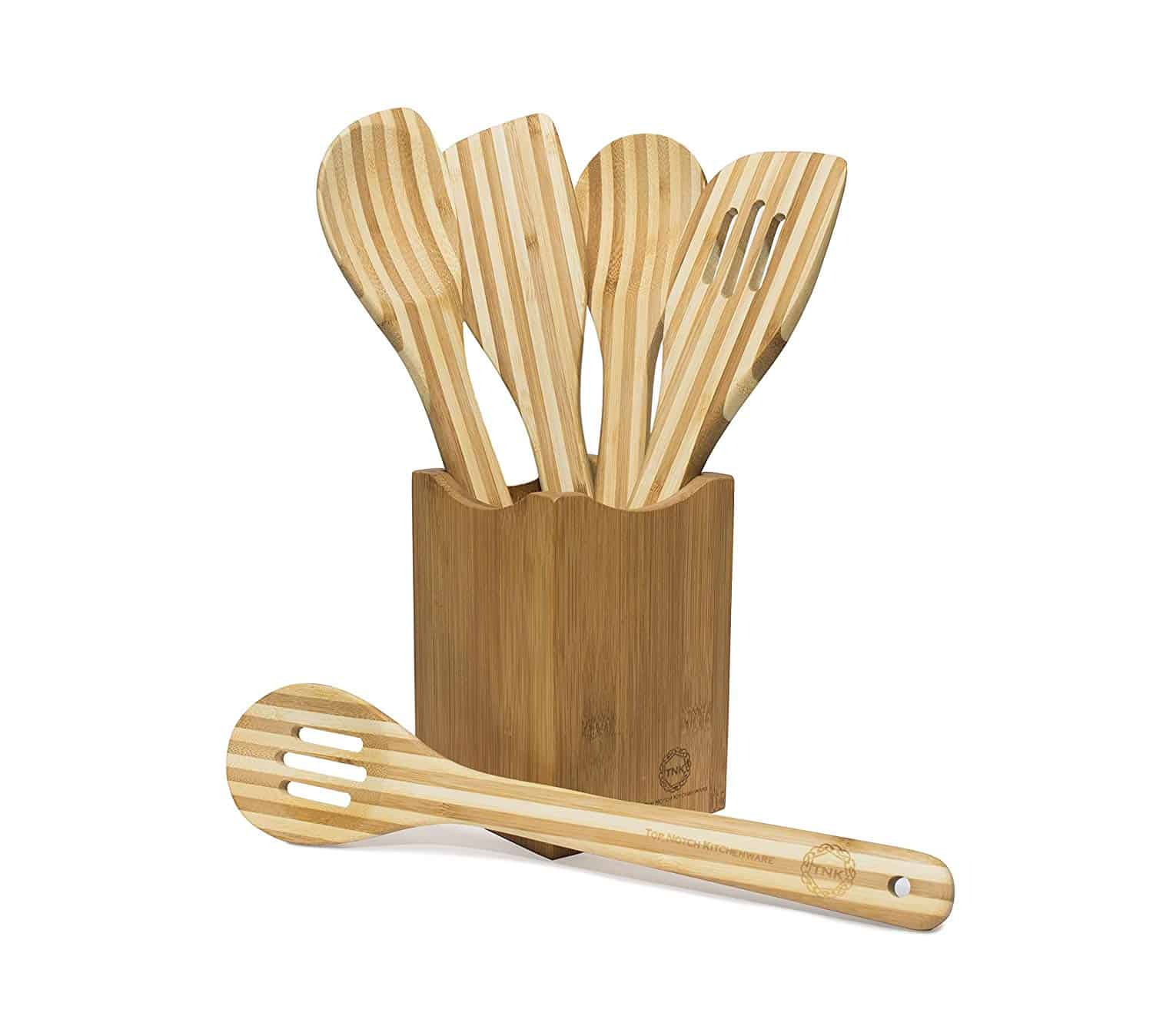 Bamboo Holder With 5 Piece Utensil Set