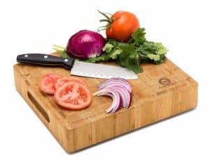 Bamboo Butcher Block Cutting Board With Veggies