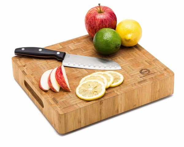 Bamboo Butcher Block Cutting Board With Fruit