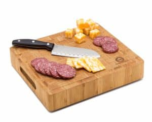 Bamboo Butcher Block Cutting Board With Meat and Cheese