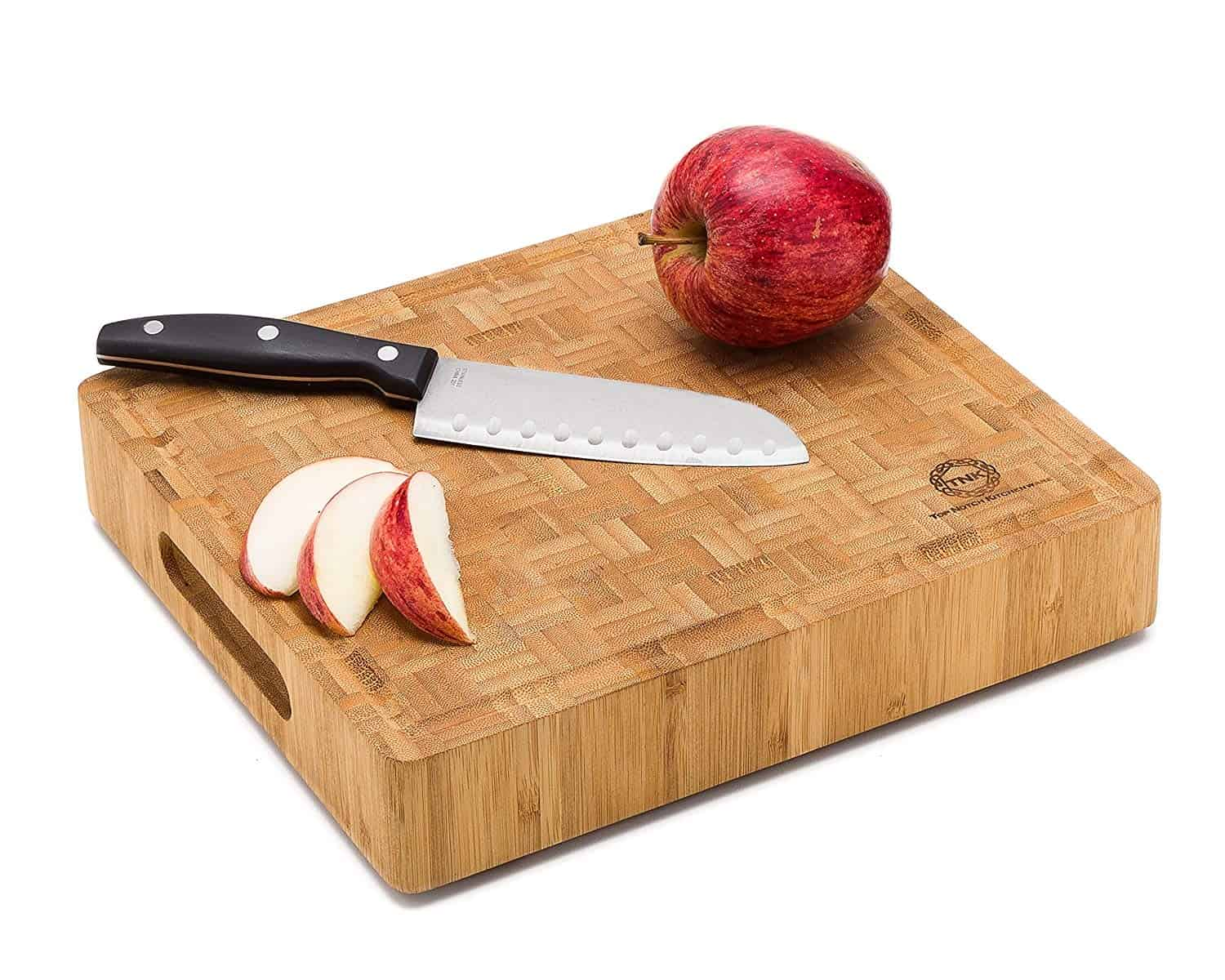 Small End Grain Bamboo Cutting Board Butcher Block by Top Notch Kitchenware