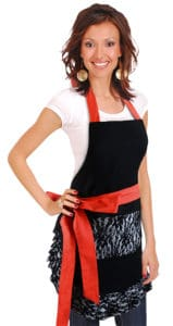 Black-Lace-Red-Bow-Apron-Model