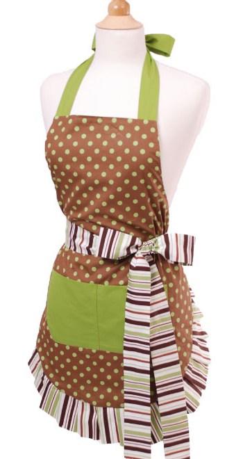 Brown-Green-Polka-Dot-Apron