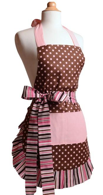 Brown-Pink-Polka-Dot-Striped-Ruffle-Apron