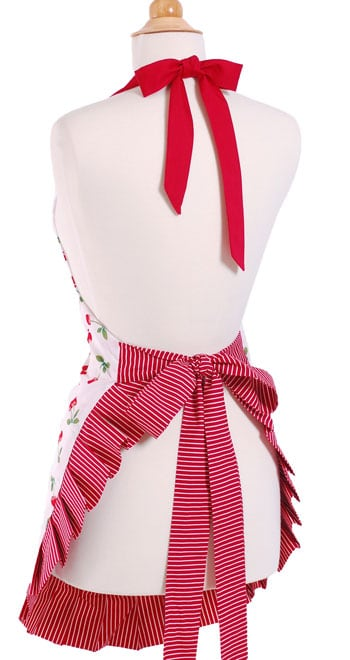red-cherry-pattern-striped-fringe-ruffles-apron-back