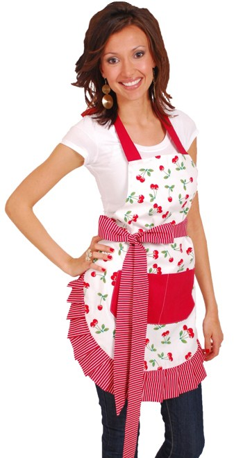 red-cherry-pattern-striped-fringe-ruffles-apron-back-model