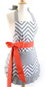 Gray-chevron-orange-bow-women-apron