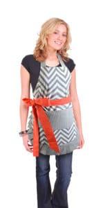 Gray-chevron-orange-bow-women-apron-model
