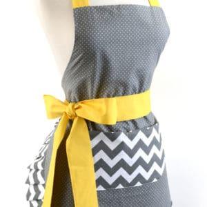 Gray-chevron-polka-dot-yellow-bow-women-apron