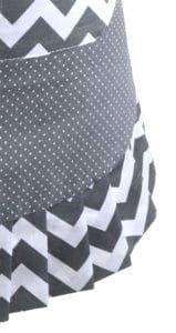 Gray-chevron-polka-dot-yellow-bow-women-apron-close