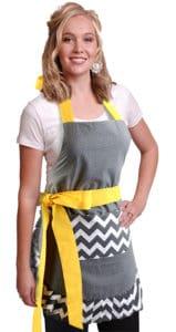 Gray-chevron-polka-dot-yellow-bow-women-apron-model