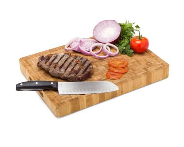 Large Bamboo Butcher Block Cutting Board-with Steak