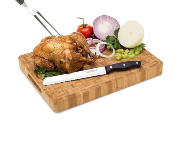 Large Bamboo Butcher Block Cutting Board-with Turkey