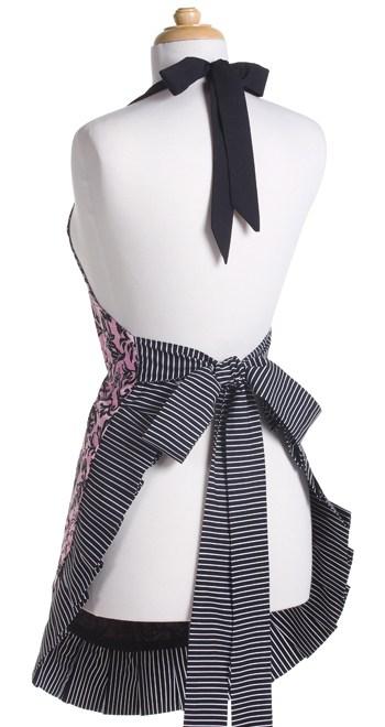 Pink-Black-Swirls-Woman-Apron-Back