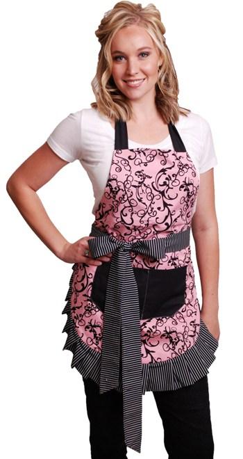 Pink-Black-Swirls-Woman-Apron-Model