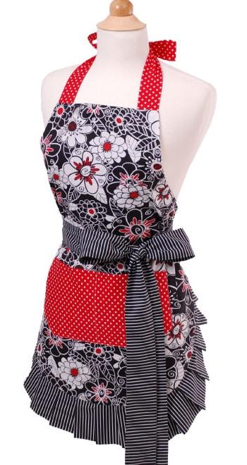 White-Black-Flowers-Red-Polka-Dot-Apron