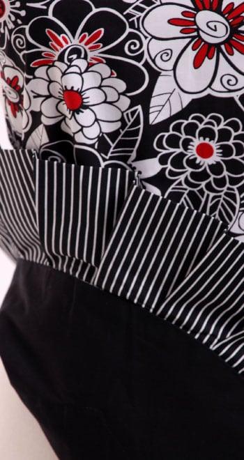 White-Black-Flowers-Red-Polka-Dot-Apron-Close