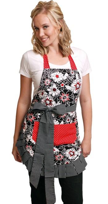White-Black-Flowers-Red-Polka-Dot-Apron-Model