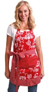 White-Flowers-Red-Apron-Model