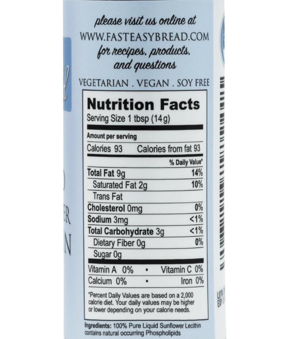 Pure Liquid Sunflower Lecithin Food Grade Food Label